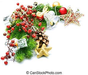 Christmas corner over white