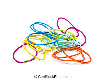 colorful hair bands . - Set of colorful hair bands .