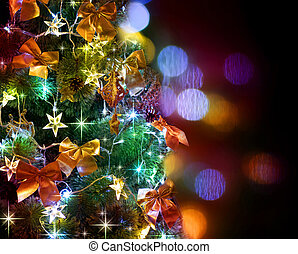 Christmas Tree Decorated Over Black