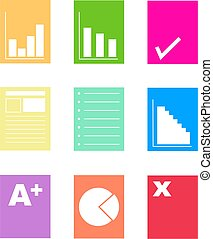 document shapes - collection of colorful paperwork and...