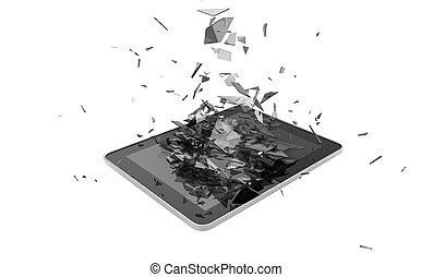 broken tablet - render of a broken tablet