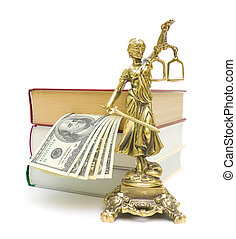 statue of justice, money and books on a white background -...