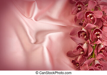 Orchid On Silk Copy Space