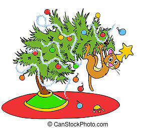 Christmas Tree Cat - Hand drawn cartoon of a house cat...