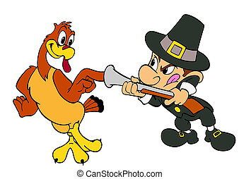 Thanksgiving Turkey And Pilgrim - hand drawn cartoon of a...