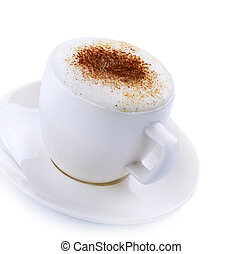 café, Capuchino, encima,  latte, blanco, o