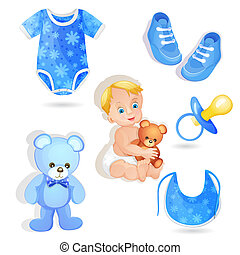 Set of elements for a baby boy