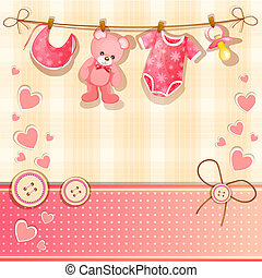 Pink baby shower card with baby girl elements