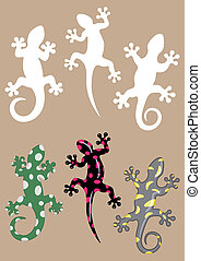 Gecko bis - Gecko silhouettes and three different colored...