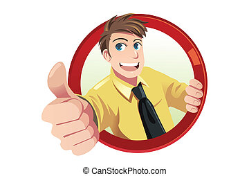 Thumbs up - A vector illustration of a businessman with his...
