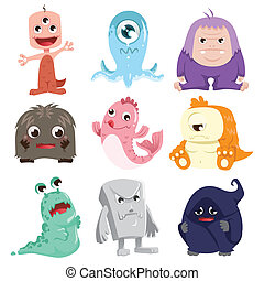 Cute monsters characters
