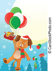 Christmas dog design background - A vector illustration of a...