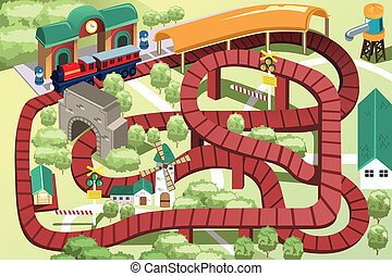 miniatura, brinquedo, trem, pista