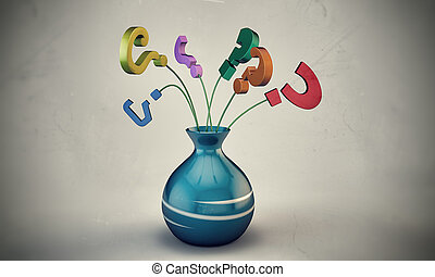 question marks in a vase - question mark in a vase isolated...