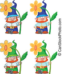gnome and flower - illustration of a gnome and flower
