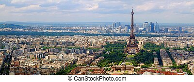 Paris city view from Montparnase tower. France.