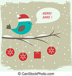 Retro winter card with cute bird