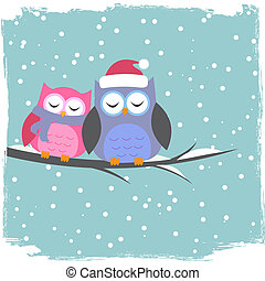 Winter card with cute owls
