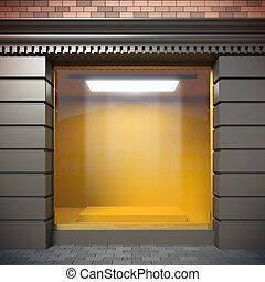 Empty showcase. - A 3D illustration of empty showcase in...