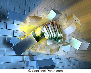 Breaking the wall - A metallic fist breaking through a brick...