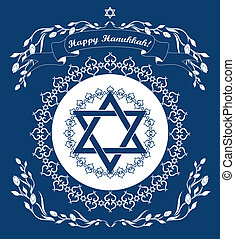 Jewish Hanukkah holiday background with magen david star -...