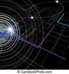 Background of Technology with earth globe Elements of this...