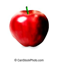 Hand Drawing of Fresh Ripe Red Apple