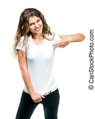 Pretty Girl With Blank TShirt - Young beautiful girl posing...