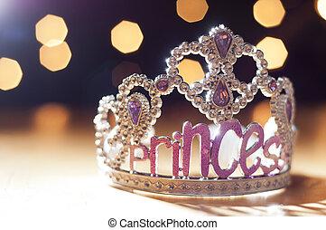 princesa, tiara, juguete, brillante, contra, Plano de fondo,...