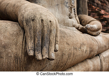 Buddha statue hand close up detail Sukhothai, Thailand