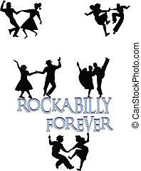 rockabilly forever - dancers perched atop rockabilly text...