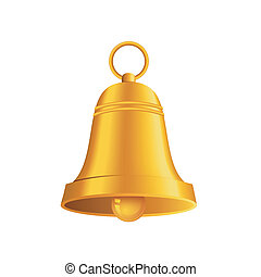 shiny golden Christmas bell - Vector illustration of shiny...