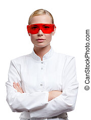 Female lab assistant in spectacles