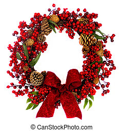 Red Berry and Pine Cone Wreath with Bow