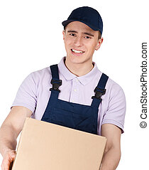 Workman in overalls keeps a parcel - Workman in overalls and...