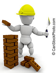 Builder - 3D render of a builder