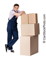 Young delivery man in overalls with containers, isolated on...