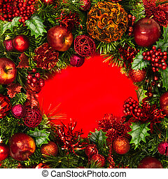 Holiday Wreath with Red Center