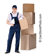 Young delivery man in overalls hands box - Young delivery...