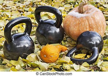 iron kettlebells outdoors - three heavy iron kettlebells...