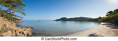 Panoramic view of Notre Dame beach in Porquerolles island in...