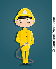 Retro cartoon fireman