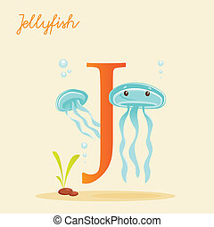 Animal alphabet with jellyfish
