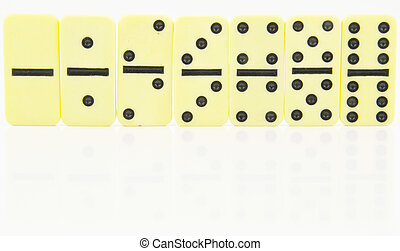 domino doubles stood in order - the doubles of dominoes...