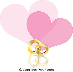 Wedding Rings Gold Band with Hearts Illustration - Wedding...