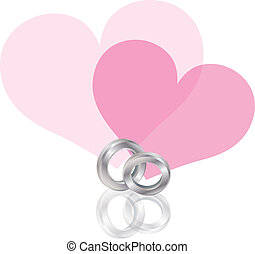 Wedding Rings Platinum Band with Hearts Illustration