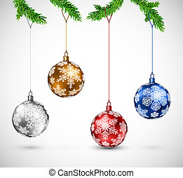 Christmas balls hanging - Christmas colorful balls hanging...