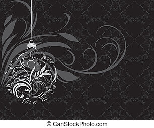 Ornamental Christmas ball on the black background. Vector...