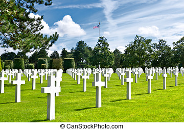 American War Cemetery at Omaha Beach, Normandy...