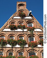 Gable house in Lueneburg, Lower Saxony, Germany.